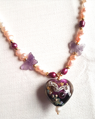 Lampwork bead necklace5