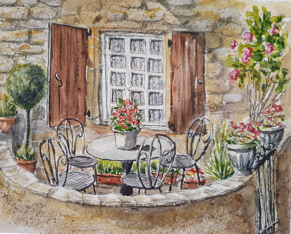 Kleine Terrasse in Beynac – Little Terrace in Beynac