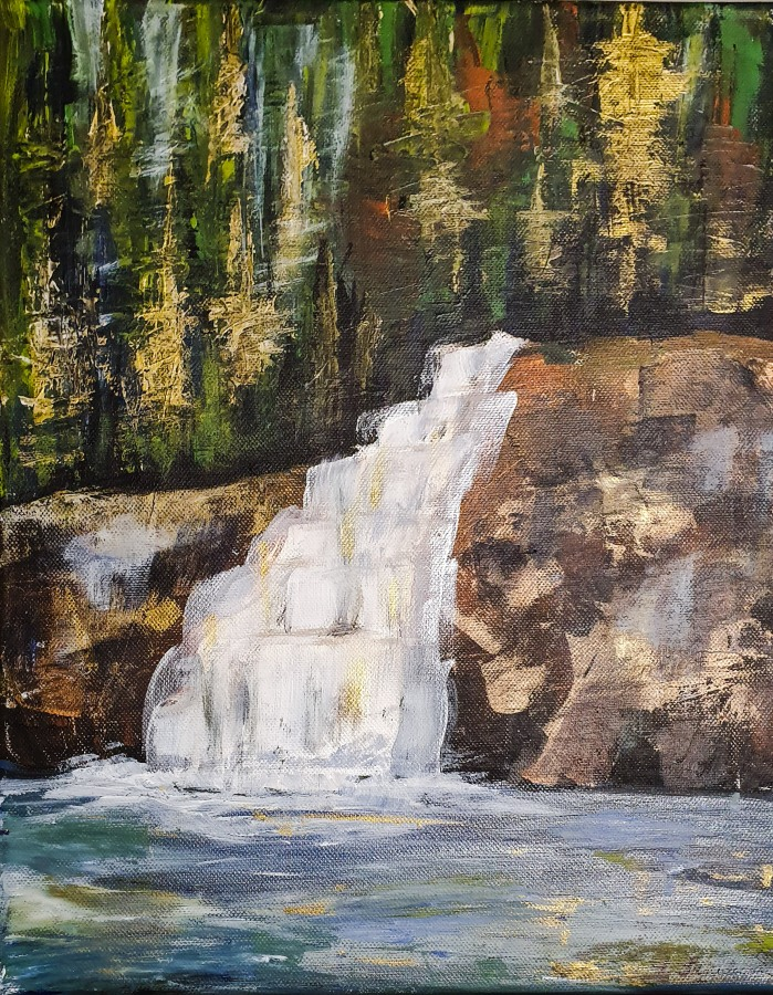 Wasserfall in Acryl – Acrylic Painted Waterfall