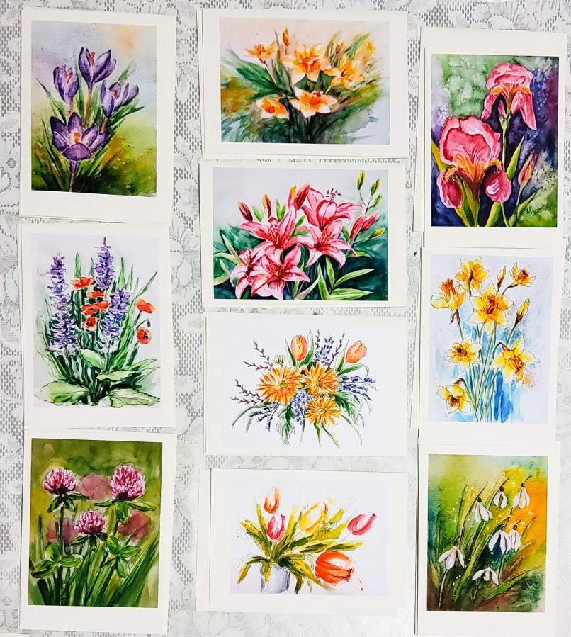 Briefkarten mit Aquarellblüten – Postcards with WatercolourFlowers